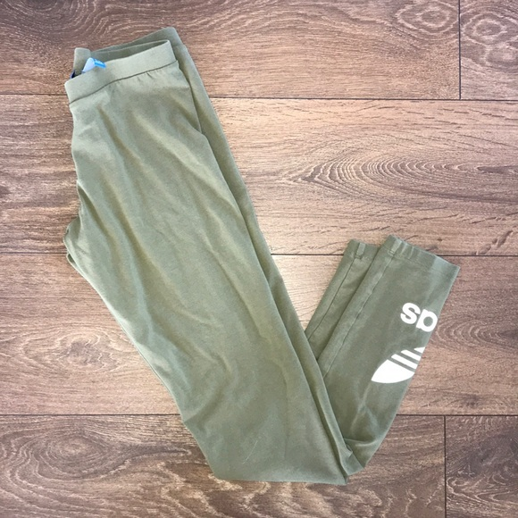 7b7306b39691c adidas Pants | Trefoil Olive Green Leggings | Poshmark